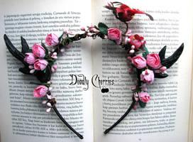 Enchanted dear horns headband BLOOMING GARDEN