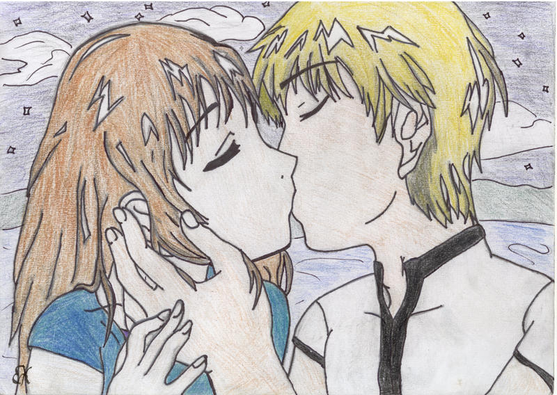 anime couples kiss. Anime couple kissing by