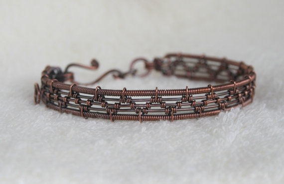woven and stone market il antique barth copper garnet bracelet wire lisa etsy red healing