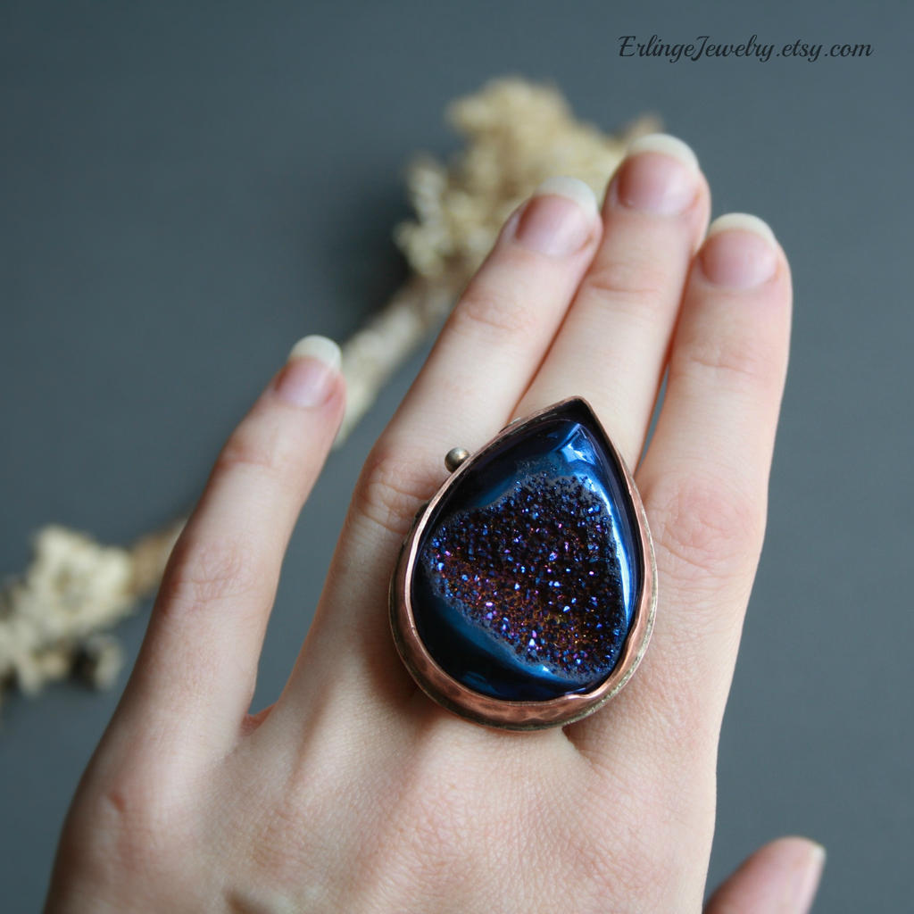 Large Druzy Ring by Linuziux