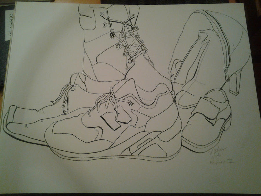 Contour Line Drawing Software : Sneaker contour line by vmf on deviantart