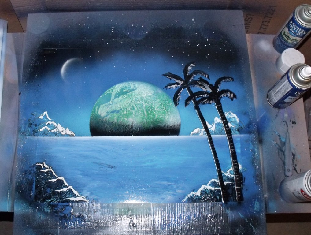 Spray Painting A Moon