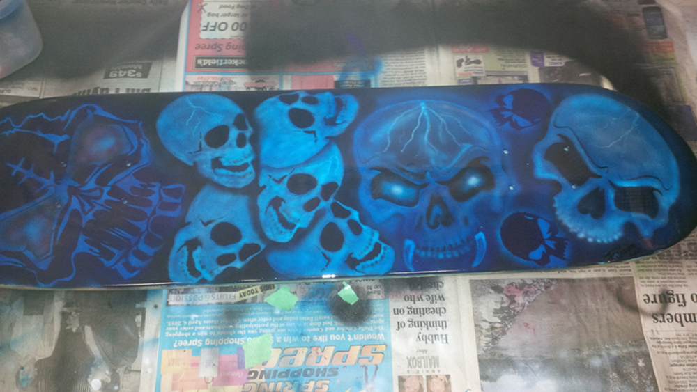 Airbrushed Skull Skateboard by JayLatour