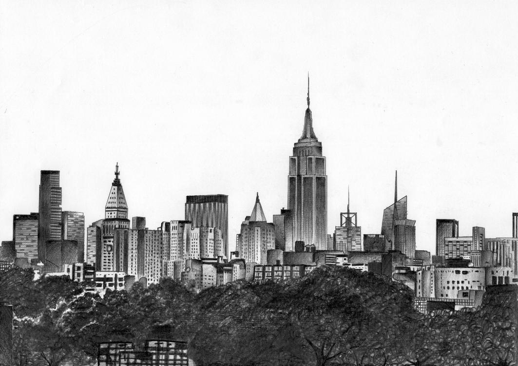 Line Art New York : New york skyline by miikedv on deviantart