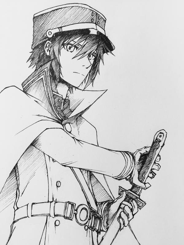 Seraph of the End - Yuichiro Kyakuya Pen Sketch by LyricaDreams