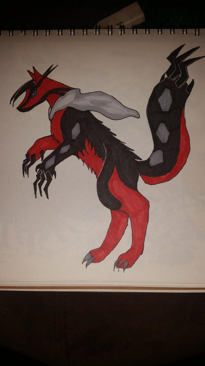 Yveltal as a wolf by HowlingMoonDesigns