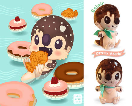 Eclair the Pastry Otter Plush + Illustration