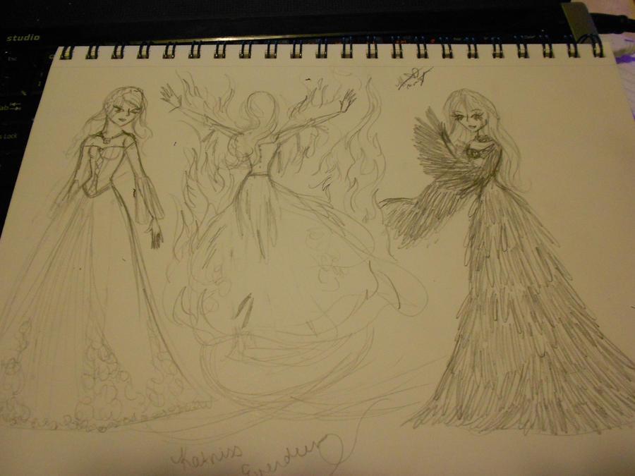 katniss wedding dress transformation by namelessgalfriend