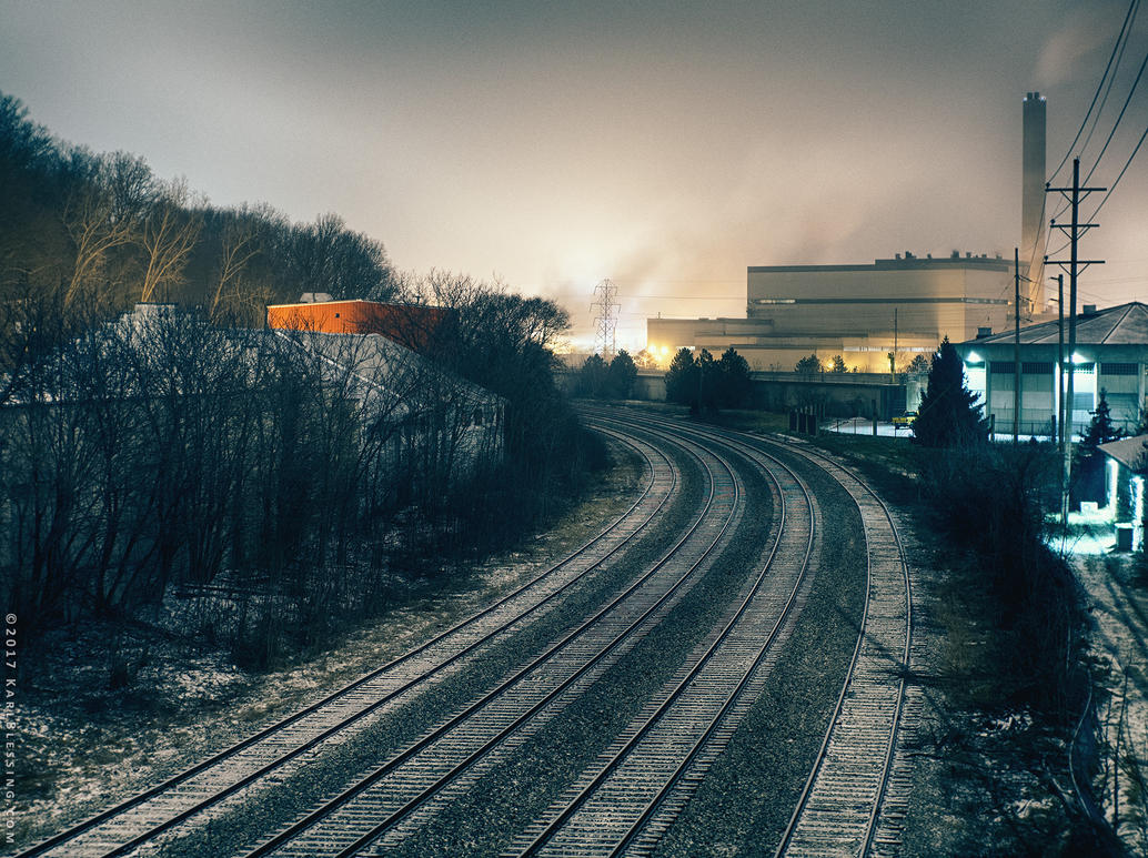 Freight Tracks during Snowstorm by KBeezie