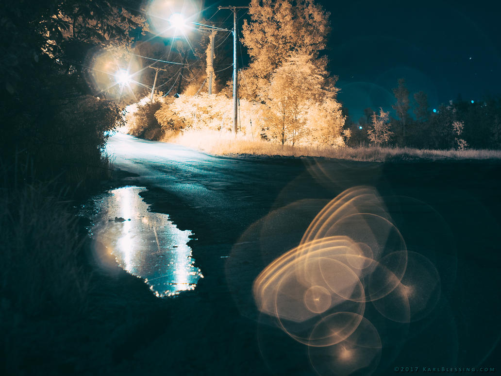 Puddle in Butterworth (Infrared @ Night) by KBeezie