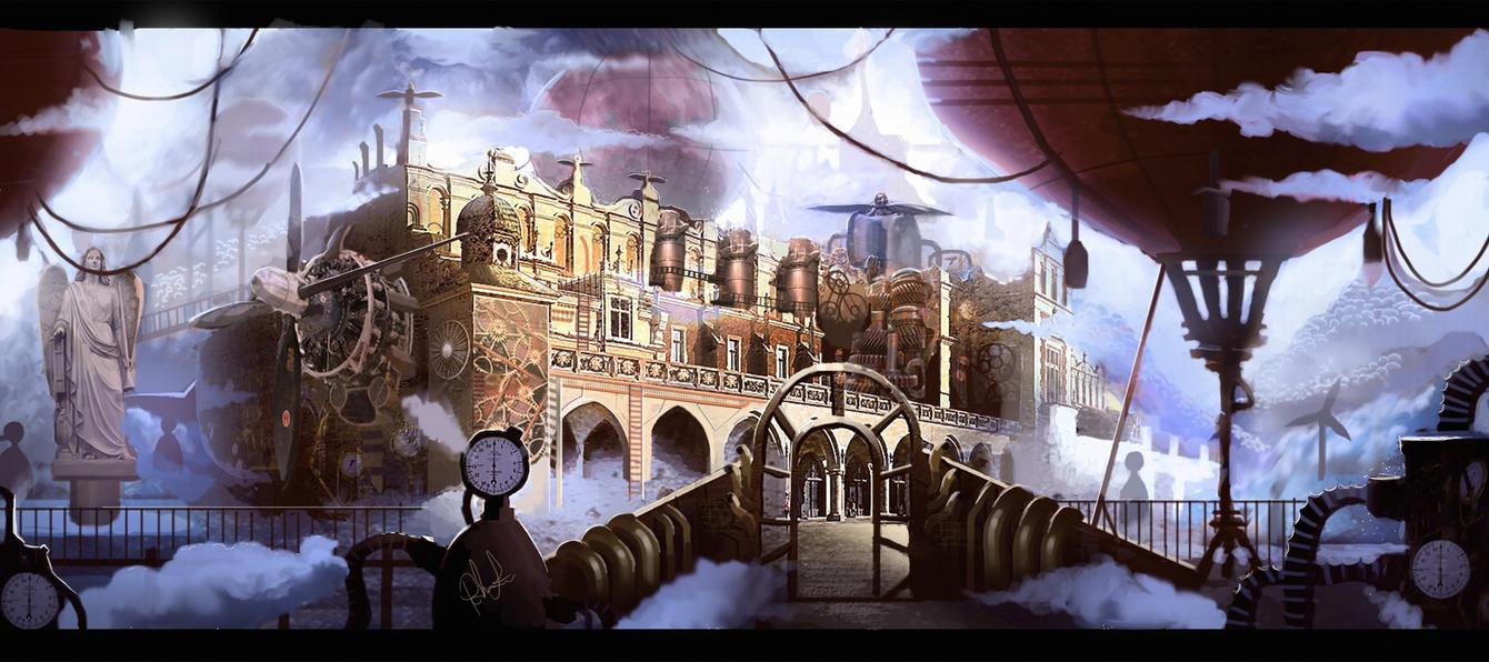 Steampunk Krakow in color by SammaeL89