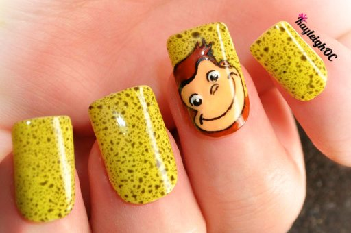 Curious George Nail Art by KayleighOC