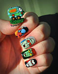 Scooby Doo Nail Art - Mystery Machine and Monsters