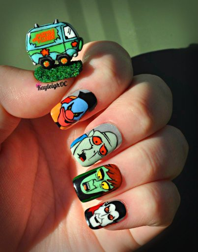 Scooby Doo Nail Art Mystery Machine And Monsters By Kayleighoc On