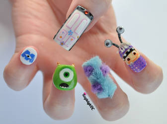Monsters, Inc. 3D Nail Art by KayleighOC