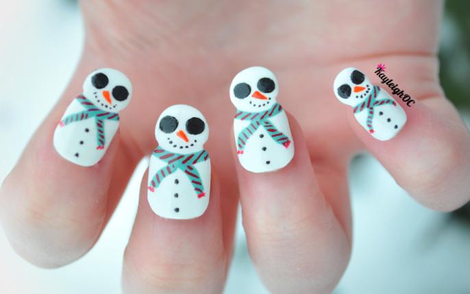 Snowmen Nail Art by KayleighOC