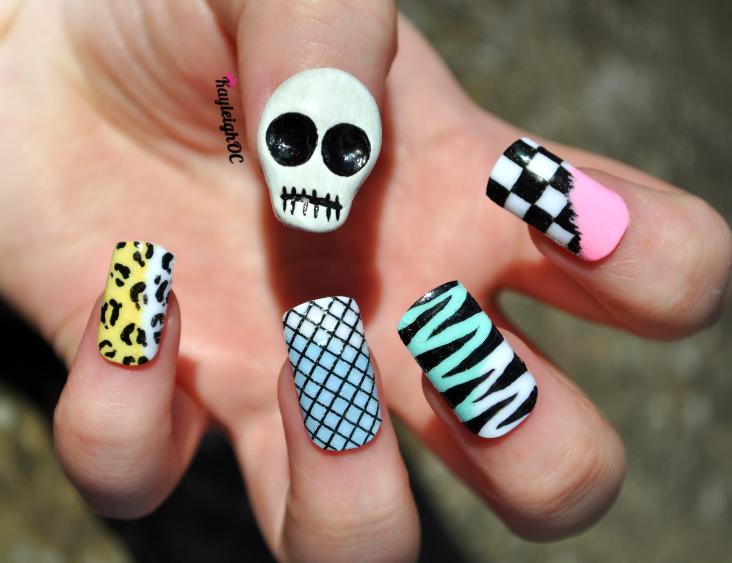 Funky Skull Nail Art by KayleighOC