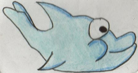 Kwaii cartoon dolphin