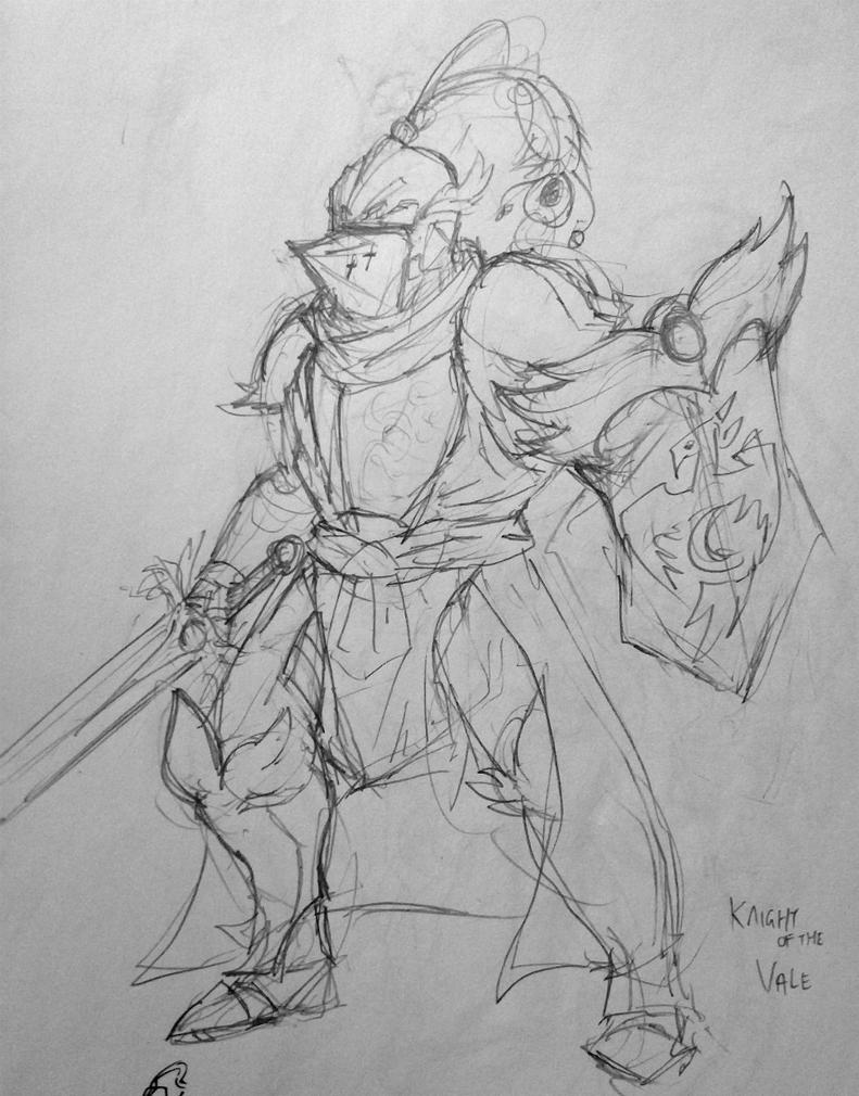 Knight of the Vale Sketch by KidneyShake