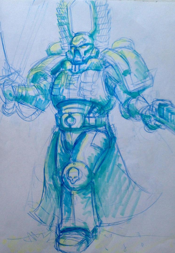 Random Space Marine Sketch by KidneyShake