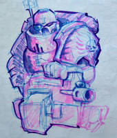 Another Space Marine Sketch by KidneyShake