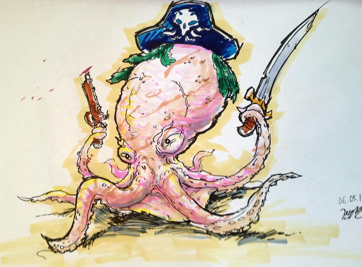 Pirate Octopus by KidneyShake