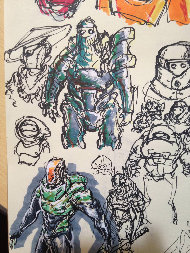Spacesuit sketches 2 by KidneyShake
