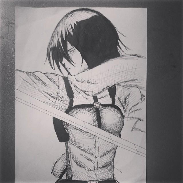 Sketch: Mikasa by miresalaj