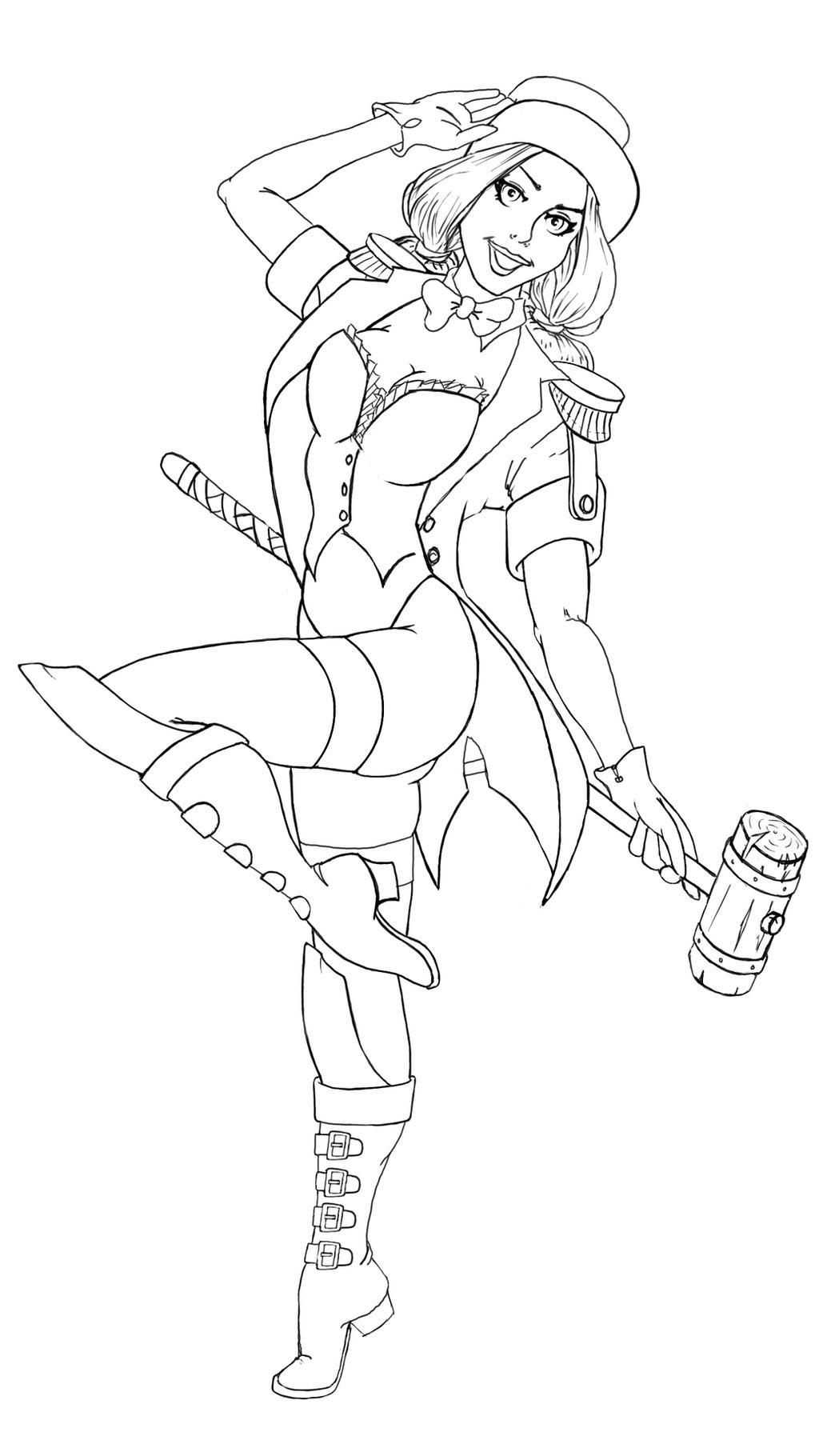 Line Art Harley Quinn : Ringmaster harley quinn line drawing by marker on deviantart