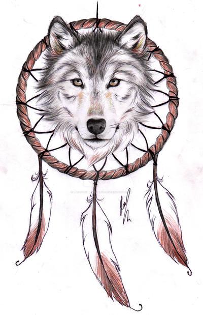 f8669ea1a Wolf Dreamcatcher II tattoo design by RozThompsonArt on DeviantArt