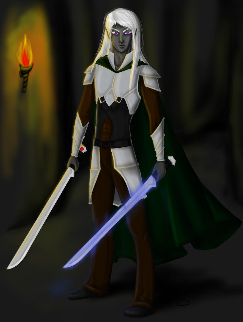 Drizzt with background by 26-black-roses