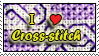 I love Cross-stitch stamp by dragondoodle