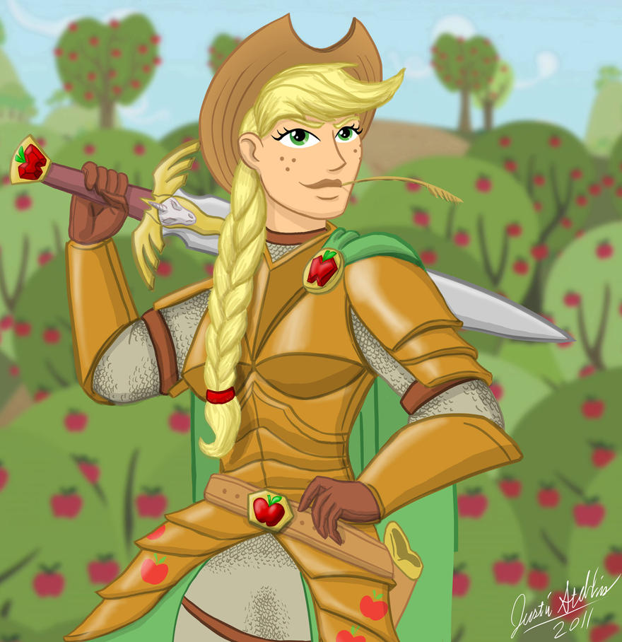 mlp human paladin applejack by saberscorpion on deviantart
