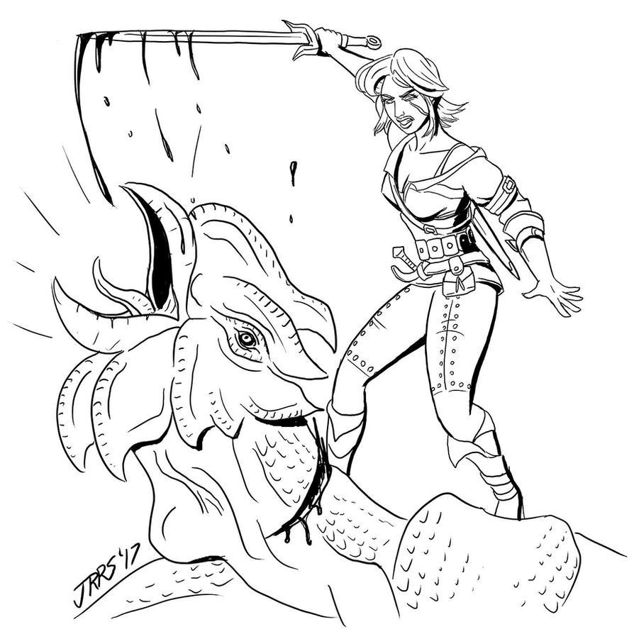 Inktober: Ciri kills the cockatrice by Saber-Scorpion