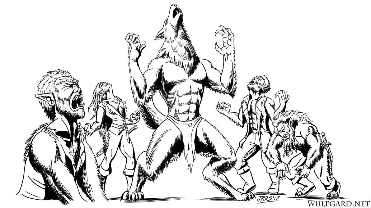 Inktober: Werewolf Pack by Saber-Scorpion