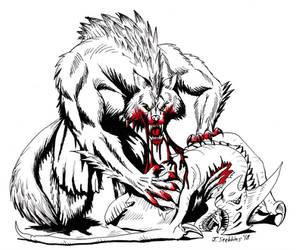 #inktober: Werewolf eating a Wyvern by Saber-Scorpion