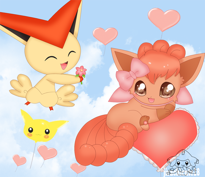 victini and vulpix by jirachicute28