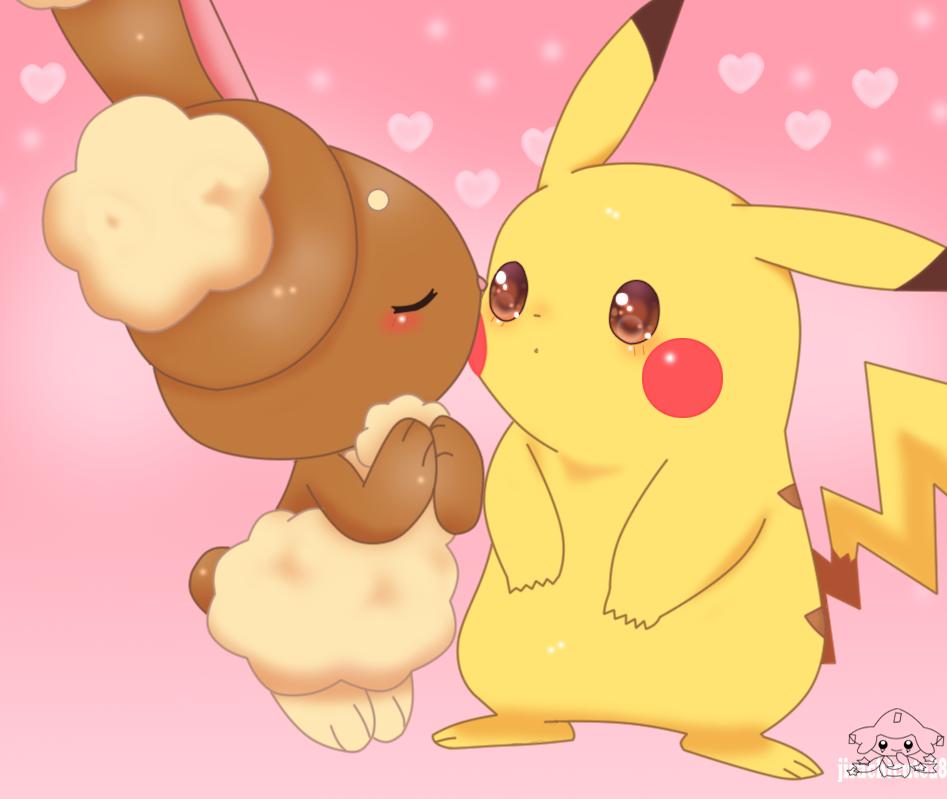 Kissing To Pikachu by jirachicute28