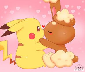 Kissing To Pikachu 2 by jirachicute28