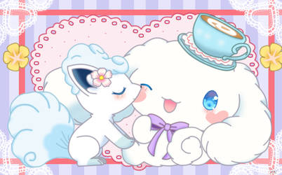 cinnamoroll  and vulpix by jirachicute28