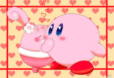 Happiny and Kirby by jirachicute28