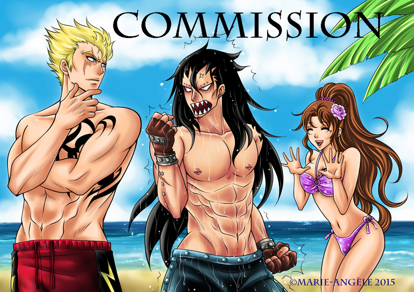 Laxus, Gajeel and Neirah - Commission - by Sambre-sambre