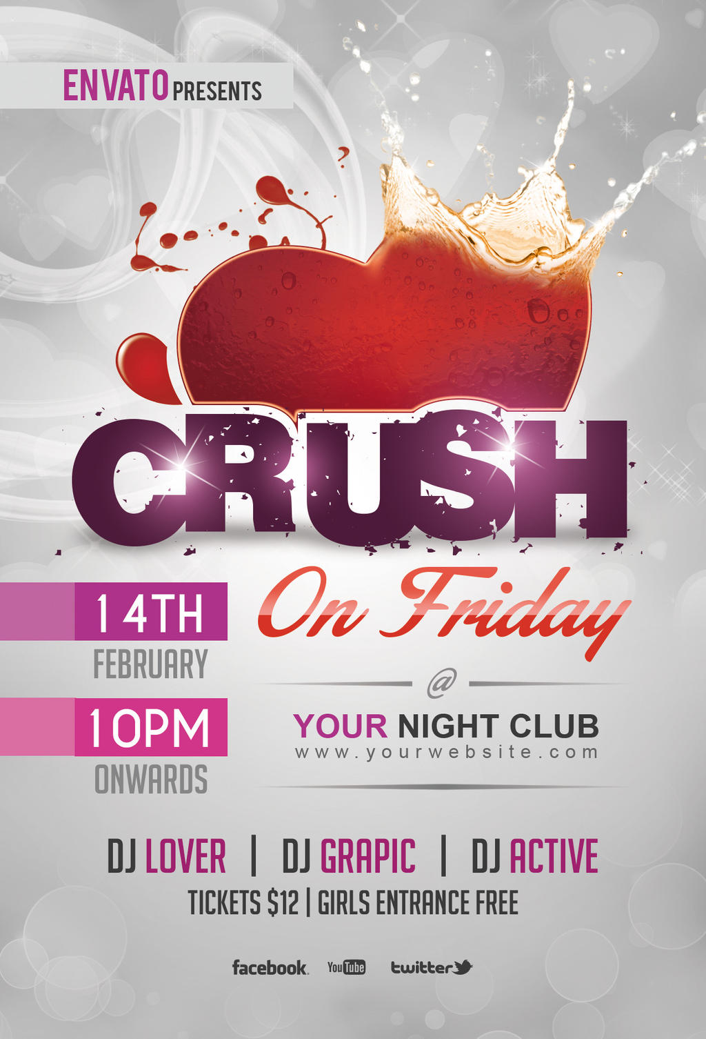Crush party flyer template by dilanr on deviantart for Club piscine flyer