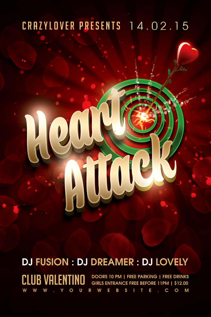 Heart Attack Valentines Party Flyer by Dilanr