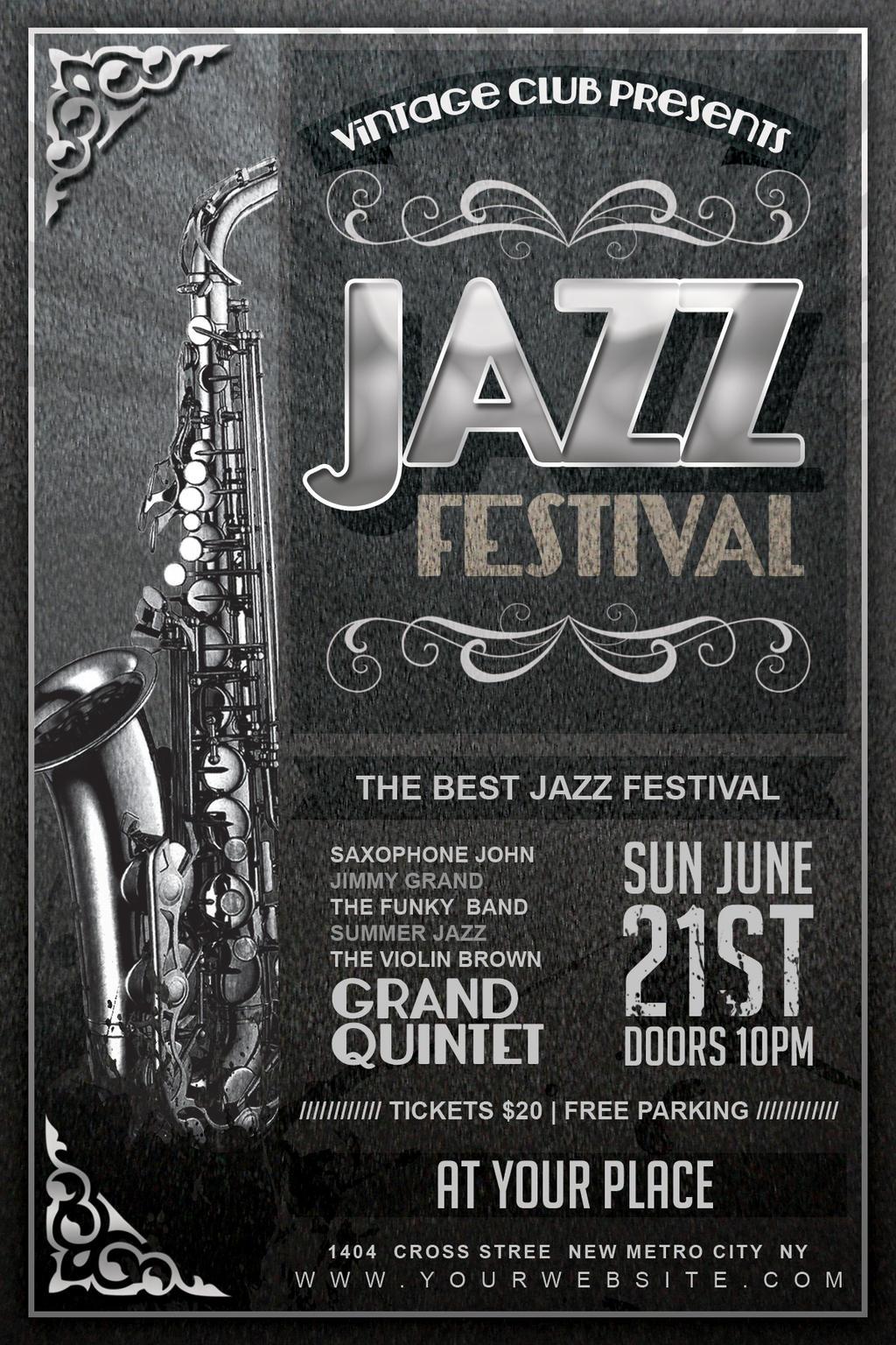 Vintage Jazz Festival Flyer by Dilanr on DeviantArt