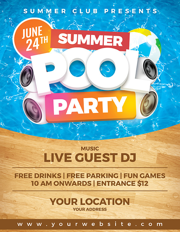 Summer Pool Party Flyer Template By Dilanr ...