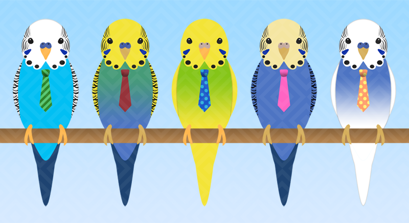 Budgies With Ties by BlackThunder-chan