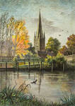 Norwich Cathedral from River Wensun