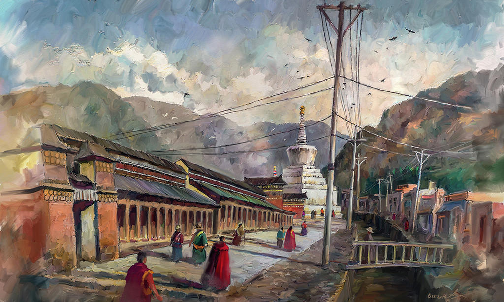 Morning at Labrang Temple by LotharZhou