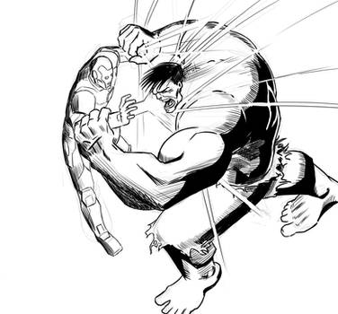 Hulk v Iron Man warm up